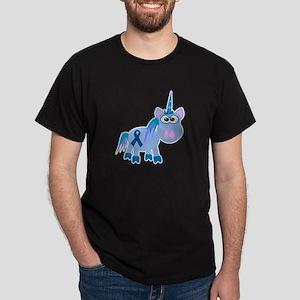 Blue Awareness Ribbon Goofkins Unicorn Dark T-Shir