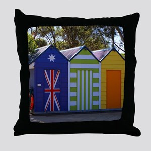 Poolside change huts Throw Pillow