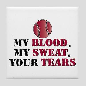 Blood sweat vball Tile Coaster