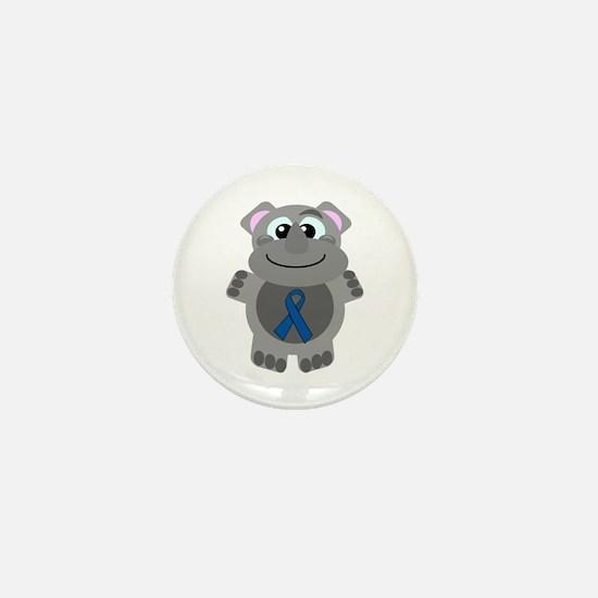 Blue Awareness Ribbon Goofkin Rhino Mini Button