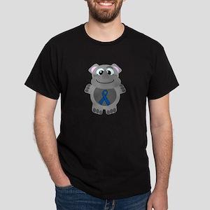 Blue Awareness Ribbon Goofkin Rhino Dark T-Shirt