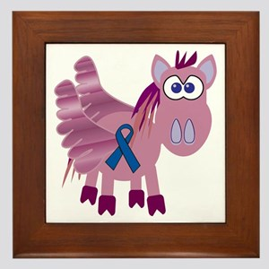 Blue Awareness Ribbon Goofkins Pegasus Framed Tile