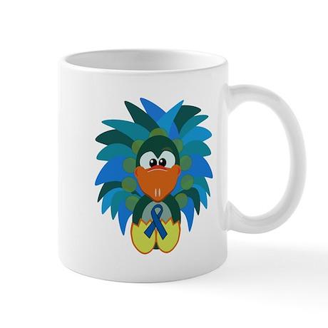 Blue Awareness Ribbon Goofkins Peacock Mug