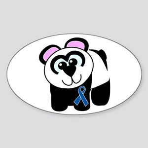 Blue Awareness Ribbon Goofkins Panda Sticker (Oval