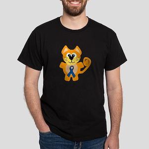Blue Awareness Ribbon Goofkins Kitty Cat Dark T-Sh