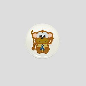 Blue Awareness Ribbon Goofkins Monkey Mini Button