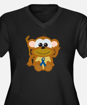 Blue Awareness Ribbon Goofkins Monkey Women's Plus