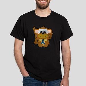 Blue Awareness Ribbon Goofkins Monkey Dark T-Shirt