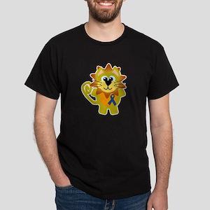 Blue Awareness Ribbon Goofkins Lion Dark T-Shirt