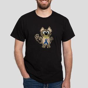 Blue Awareness Ribbon Goofkins Leopard Dark T-Shir