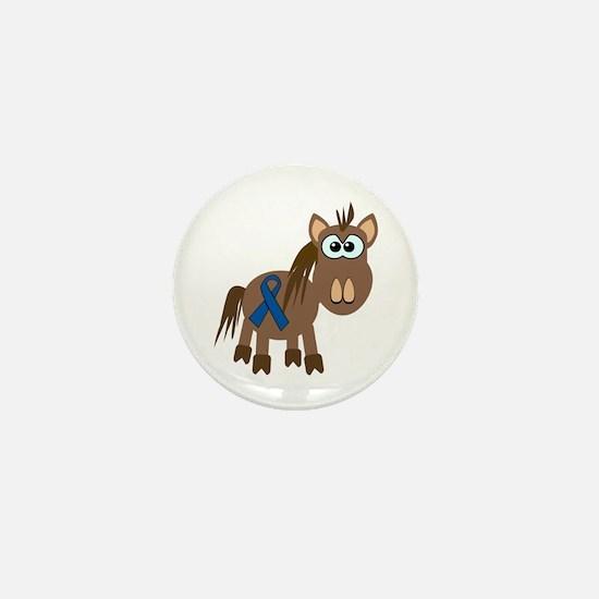 Blue Awareness Ribbon Goofkins Horse Mini Button