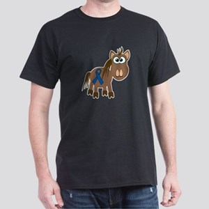 Blue Awareness Ribbon Goofkins Horse Dark T-Shirt