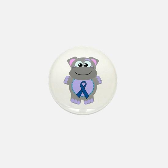 Blue Awareness Ribbon Goofkins Hippo Mini Button