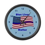 Blue Lives Matter Large Wall Clock