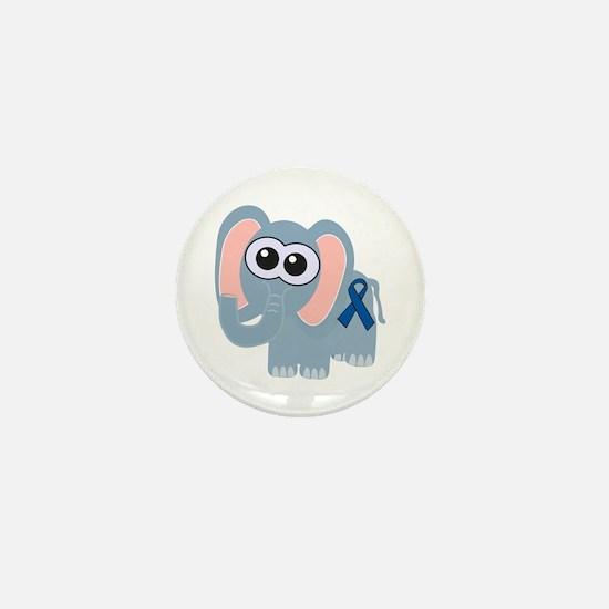 Blue Awareness Ribbon Goofkins Elephant Mini Butto