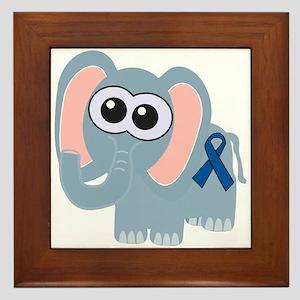 Blue Awareness Ribbon Goofkins Elephant Framed Til