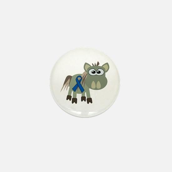 Blue Awareness Ribbon Goofkins Donkey Mini Button