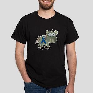 Blue Awareness Ribbon Goofkins Donkey Dark T-Shirt