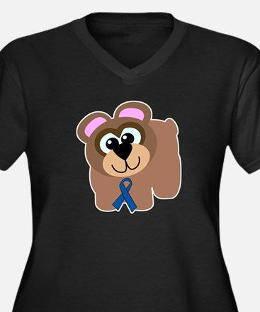 Blue Awareness Ribbon Goofkins Bear Women's Plus S