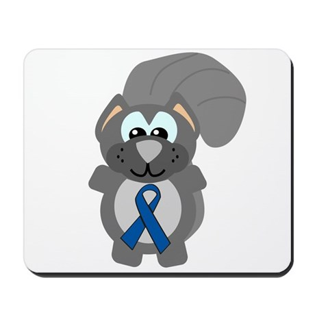 Blue Awareness Ribbon Goofkins Squirrel Mousepad
