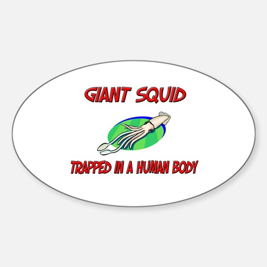 Giant Squid trapped in a human body Oval Decal