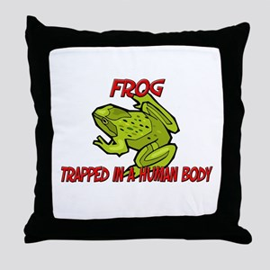 Frog trapped in a human body Throw Pillow