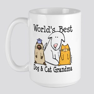 World's Best Dog and Cat Grandma Large Mug