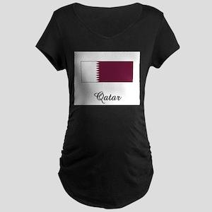 Qatar Flag Maternity Dark T-Shirt