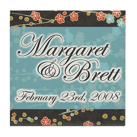 """""""Margaret & Brett"""" Wedding Tile Coaster"""
