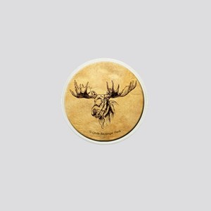 Moose sepia ink drawing Mini Button