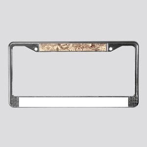 Vintage Passport Stamps License Plate Frame