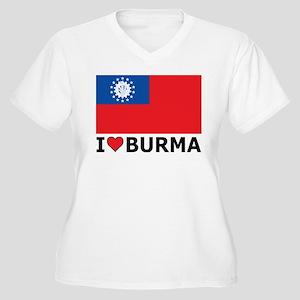 I Love Burma Women's Plus Size V-Neck T-Shirt