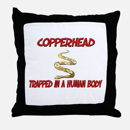 Copperhead trapped in a human body Throw Pillow