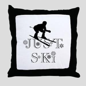 JUST SKI Throw Pillow
