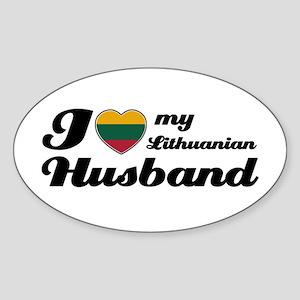 I love my Lithuanian Husband Oval Sticker