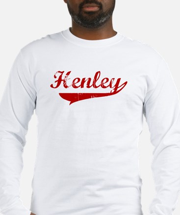 Henley (red vintage) Long Sleeve T-Shirt