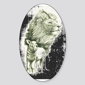 Lion and the lamb Oval Sticker
