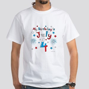 July 4th Birthday Red, White, Blue White T-Shirt