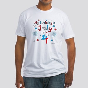 July 4th Birthday Red, White, Blue Fitted T-Shirt