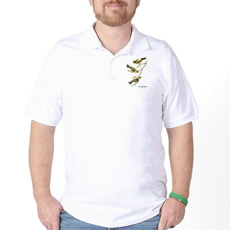 Audubon Evening Grosbeak Birds Golf Shirt
