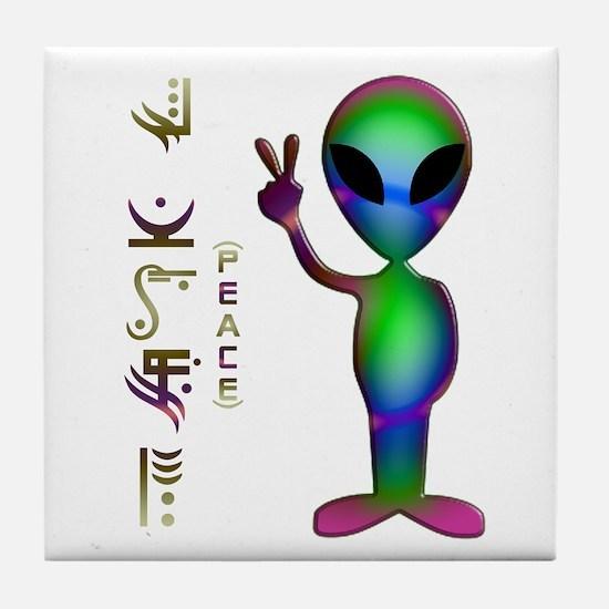 Alien Peace Dudes 14 Tile Coaster