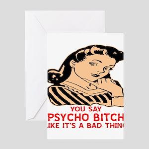 Retro Psycho Bitch Greeting Cards