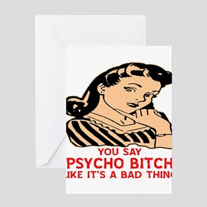 Bitches be crazy greeting cards cafepress retro psycho bitch greeting cards m4hsunfo