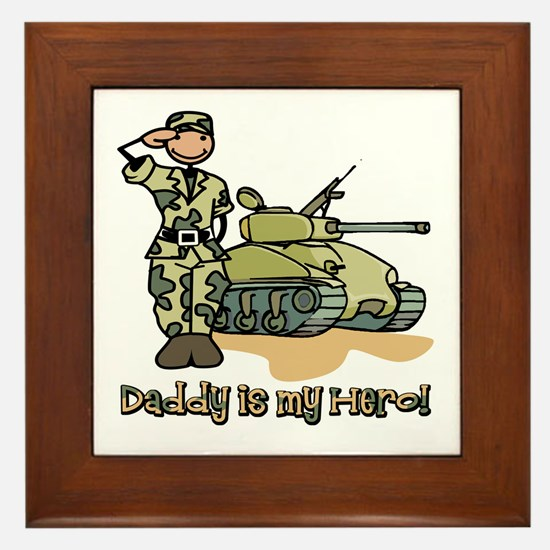 Daddy is my hero! Framed Tile
