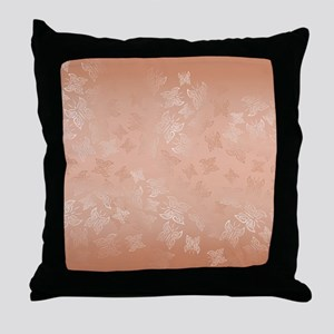 Rose Gold Butterflies Pattern Throw Pillow