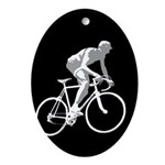 Bicycle Racing Abstract Silhouette Print Oval Orna