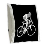 Bicycle Racing Abstract Silhouette Print Burlap Th