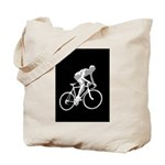 Bicycle Racing Abstract Silhouette Print Tote Bag
