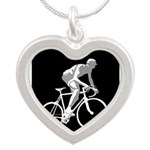Bicycle Racing Abstract Silhouette Print Necklaces