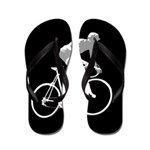 Bicycle Racing Abstract Silhouette Print Flip Flop